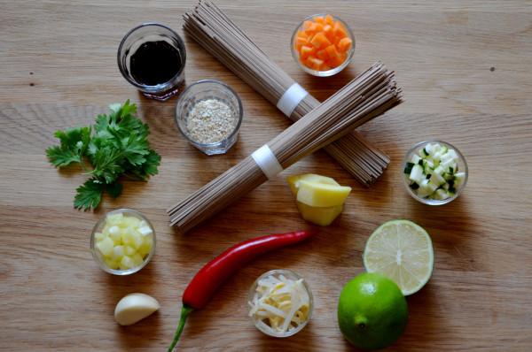 Ingredience pro Salát ze soba nudlí