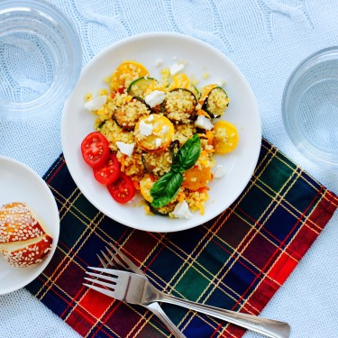 Couscous With Courgettes, Carrots and Feta Cheese