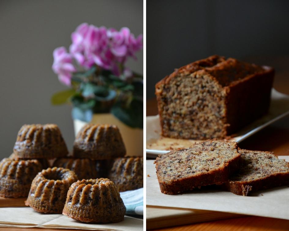 Banánový chlebíček nebo bábovičky s čokoládou a ořechy koláž